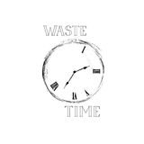 Waste time sign concept. Doodle retro watch dial with damaged nu. Mbers. Lose time stylish emblem Royalty Free Stock Images