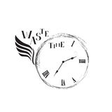 Waste time sign concept. Retro watch dial with with wing, damaged numbers Stock Photos