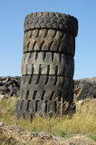 Waste tires tower Stock Images