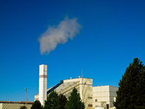 Waste to Energy Plant with Smoke. Coming Out of a Smokestack stock images