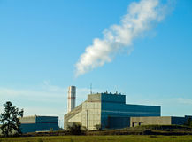 Waste to Energy Plant with Smoke. Coming Out of a Smokestack stock photo
