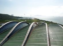 Solar planes in Waste to Energy Transformation Park. Waste to Energy Transformation T Park in Hong Kong China. The self-sustained facility combines a variety of stock photos