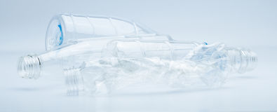 Waste of transparent plastic bottles  on white background Royalty Free Stock Photos