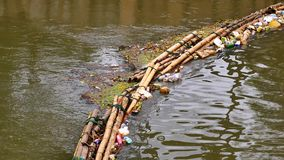 Waste trap device before flowing into the sea Made from bamboo. PHUKET ,THAILAND,NOV 2017 : The waste trap device before flowing into the sea Made from bamboo stock video
