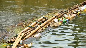 Waste trap device before flowing into the sea Made from bamboo. Phuket, Thailand, Nov 2017 : The waste trap device before flowing into the sea Made from bamboo stock footage