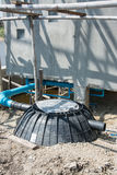 Waste treatment tank or septic tank installation  in construction site Stock Photos
