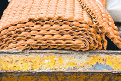 Waste underlay. Unused carpet underlay in a waste skip Stock Photography