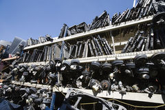 Waste Vehicle Parts On Rack Stock Photo