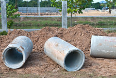 Waste water drain construction Stock Images