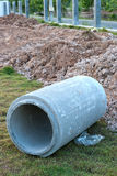 Waste water drain construction Stock Photo