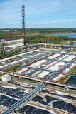 Waste water storage tanks in treatment plant Stock Image
