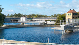 Waste water treatment bassin Royalty Free Stock Photos