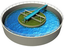 Waste water treatment plant. Primary sedimentation stage, 3d render  on white Royalty Free Stock Image