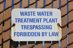 waste water treatment plant sign Stock Photos