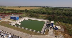 Waste water treatment system at the metallurgical plant. Wastewater treatment system at the metallurgical plant, cleaning pool, purification circuit, treatment stock footage