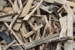Waste wood pile. Stock Photo