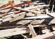 Waste wood pile Stock Images