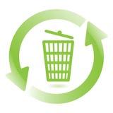 Wastebasket. Illustration, green arrows around wastebasket on white background Royalty Free Stock Photo