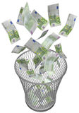 Wastebasket with euros Stock Image