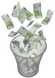 Wastebasket with euros. Metal wastebasket with euro bills Stock Image