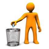 Wastebasket Orange Toon. Orange cartoon character throws crumpled paper in the wastebasket Royalty Free Stock Photos