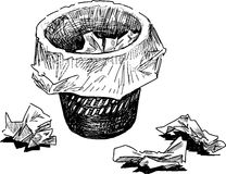 Wastebasket. Vector drawing of wastebasket with used paper Stock Photos