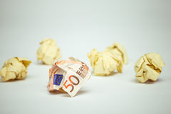 Wasted euro bill amound office paper Royalty Free Stock Image