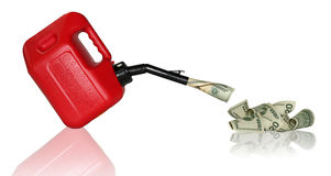 Wasted Gas Money. $20 bills pouring from a gas can stock photos