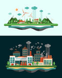 Wasted and green landscapes - ecological banners set Stock Photos