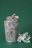 Wasted money - Euro bills. Photo of a waste basket full of money Royalty Free Stock Photography