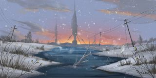 Wasted Snow Land. SpitPaint. Concept Art. Fast Drawings. Sketch Paint. Realistic Style. Video Game Digital CG Artwork, Concept Illustration, Realistic Cartoon vector illustration