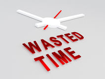 Wasted Time concept. 3D illustration of WASTED TIME title with a clock as a background. Time concept Stock Photo