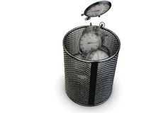 Wasted time concept with stopwatch and trash bin. 3D computer render and white background Royalty Free Stock Images