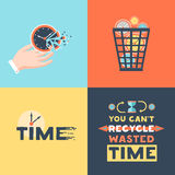 Wasted Time 4 Flat Icons Square. Wasted time concept 4 flat icons square with useless activities trash basket and clock symbols vector illustration Royalty Free Illustration