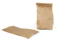 Wasteful disposable paper bags. Paper lunch bags - disposable, not reusable, isn't good for the environment Stock Image