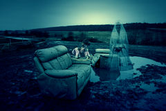 Wasteland Ghost. Photo Of A Ghost On Wasteland Royalty Free Stock Image