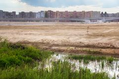 Wasteland territory for new stadium in a residential area on the suburb of Kaliningrad stock photo