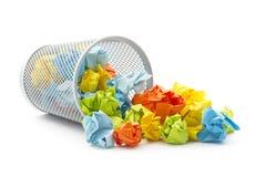 Обрушенная корзина wastepaper офиса Стоковые Фото