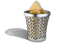 Wastepaper basket with folders Stock Photography
