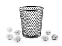 Wastepaper Basket Isolated on White, Illustration Royalty Free Stock Photos