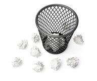 Wastepaper basket and paper Stock Image