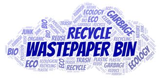 Wastepaper Bin word cloud. Wordcloud made with text only vector illustration