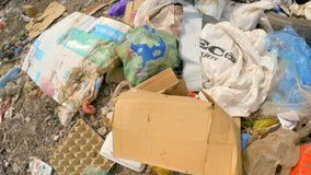Wastes And Garbage Dumped Into Heap At Landfill At stock footage