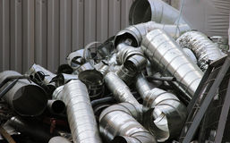 Wastes from the production of galvanized steel ventilation ducts Stock Photography