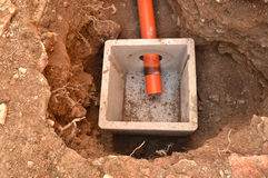 Wastewater pipe in an excavation Stock Photo
