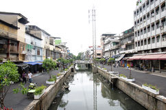 Wastewater and pollution and garbage in canal at  Sampeng plaza Stock Photos