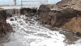 Wastewater pouring into the pit stock video