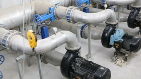 Wastewater treatment facility valves pipes. Wastewater treatment plant. A new pumping station. Valves and pipes. Urban modern treatment facilities, pipelines and stock video