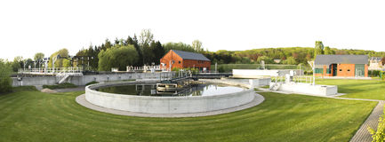 Wastewater treatment plant. Exterior panorama stock images