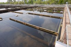 Wastewater. Treatment plant aerating basin Stock Images